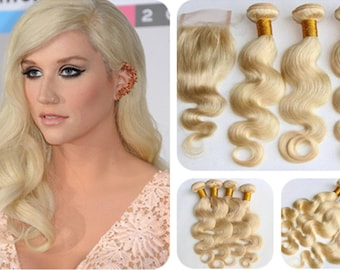 Ombre human Hair Extensions hair weft hair weaving blonde Hair 3pcs With 1 Closure Brazilian Hair Body Wave