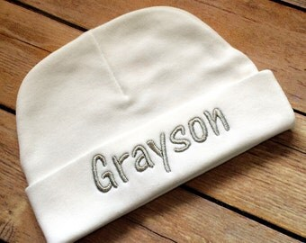 Personalized Baby Beanie Hat Monogram Infant Boy Monogram Baby Hat Personalized Newborn Baby Shower Gift Photo Prop Baby Coming Home Outfit