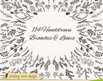 BRANCHES AND LEAVES digital cliparts, sketchy clipart pack wit branches and leaves