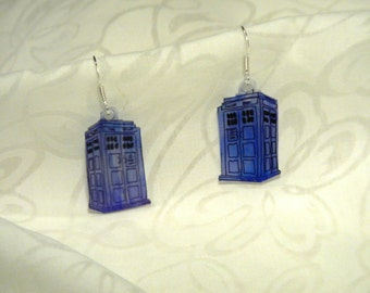 """Dr Who Tardis earrings, 100% recycled plastic """"shrinky dink"""""""
