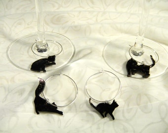 """silhouette cat wine charms, set of 4, 100% recycled plastic """"shrinky dink"""""""