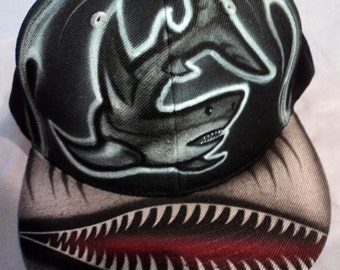 Airbrushed Shark Snapback Hat Hand Painted airbrush