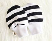 Baby Mittens - No-Scratch Black and White Stripe - Knit
