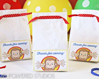 Curious George Party Label, Curious George Goody Bag, Kids Party, Curious George Sticker,  Party Favor, INSTANT DOWNLOAD