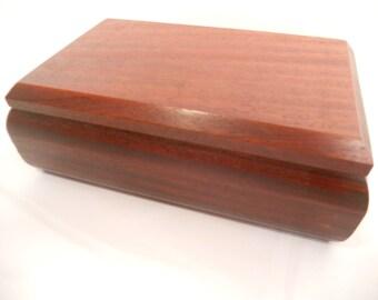 Padauk Wooden Jewelry Box with Redheart trays.