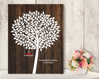 """Wedding Guest Book Alternative Poster / Guest Tree, Love Birds / Wedding Sign / """"Leaving Wishes"""" 175 ▷ Printable File {or} Printed & Shipped"""