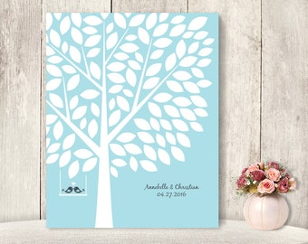"Wedding Guest Book Alternative Poster / Guest Tree on Powder Blue, Love Birds / ""Leaving Wishes"" 100 ▷ Printable File {or} Printed & Shipped"