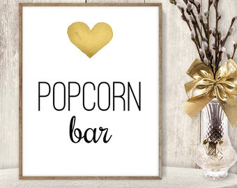 Popcorn Bar Sign // Watercolor Wedding Popcorn Sign DIY // Gold Heart, Watercolor Heart Sign, Printable PDF Poster ▷ Instant Download