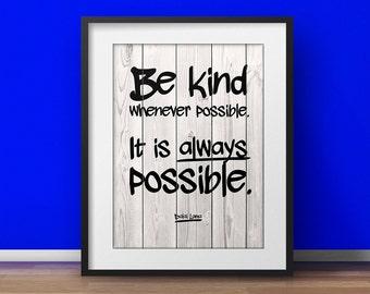 Motivational poster, Dalai Lama quote, Be kind, Yoga Office, Mindfulness print, Spiritual quotes, Inspirational print, Buddhist Art, Buddha