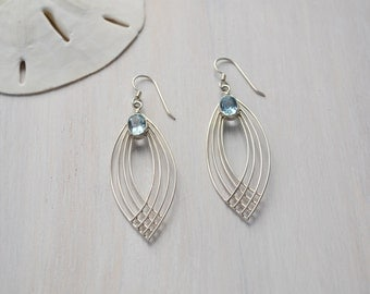 Sterling Silver and Blue Topaz Earrings