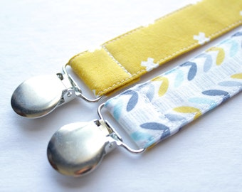 Gender Neutral Pacifier Clips - Set of 2