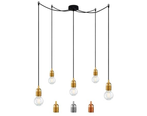 Lampe ampoule attaque uno s5 avec douilles e27 cuivre or ou for Lampe suspension ampoule
