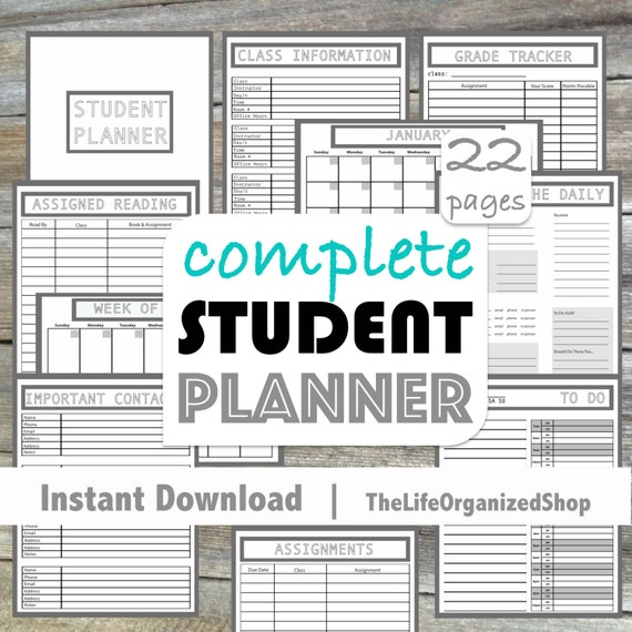 Student Planner College Planner High School Planner From