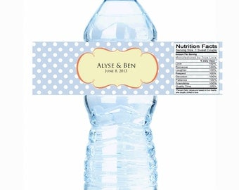 """20 Sweet Polka Dots Filigree Water Bottle Labels - Select the quantity you need below in the """"Pricing & Quantity"""" option tab"""