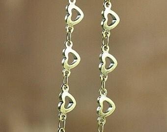2 FEET Heart Shape Antique Bronze Chain --- Vintage Jewelry Sypplies