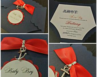 Nautical Baby Shower Invitation - Diaper Invitation -- Custom Diaper Invitation -- Baby Shower Invite