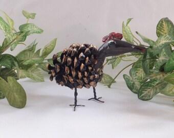 Pine cone, handmade, art, Sculpture, , clay,Ground chicken bird, Home décor, Eco friend,  Sculptures from nature,Unique item,Pinecones