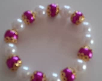 Pink and White Beaded Bracelet  (#47)