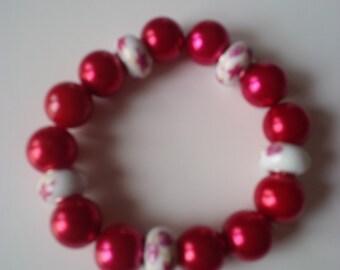 Beaded Red & White Bracelet   (#109)