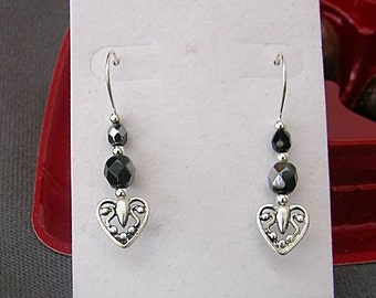 Ornate Metal Hearts with Crystals -   Valentine's Day Earrings