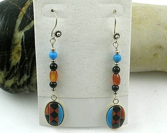 Long Tribal Native American Turquoise Coral Inlay Earrings