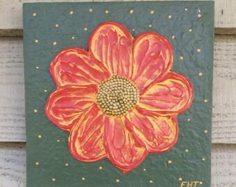 Hand Sculpted Folk Art Flower Painting