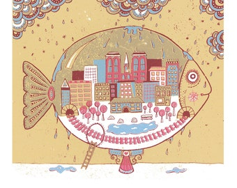 The City A3 print - nursery print, fish print, fishing print, fishbowl, intricate art