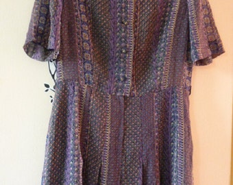 80s Japanese vintage short sleeves day dress with Mandarin collar