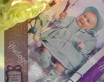 Vintage 40s Knitting Pattern Baby's Exquisite Pram Set Coat Bonnet Mitts Bootees.