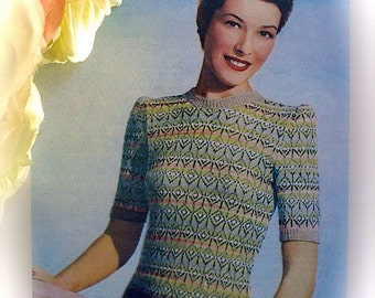 "Vintage 1940's Knitting Pattern Lady's Pastel Fair Isle Jumper. Fit 34-36"" Bust"