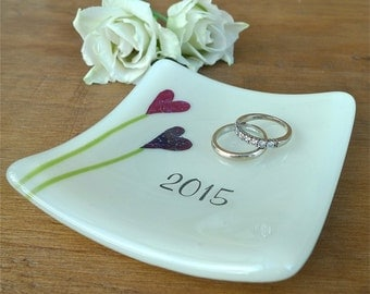Personalised fused glass wedding ring dish