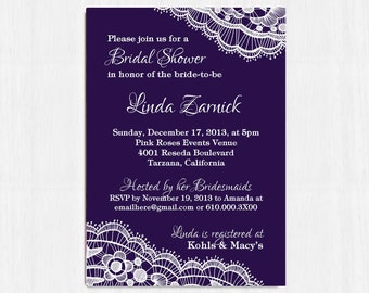 Bridal Shower Invitation, Purple, Printable invitation, Lace invitation, purple bridal shower, lace bridal shower invitation, digital invite