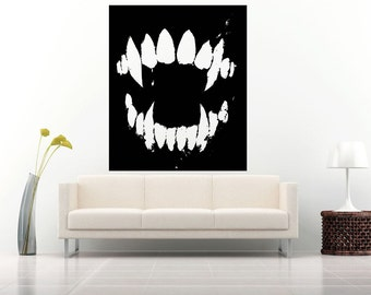 Wall Vinyl Sticker Decals Mural Room Design Pattern Tooth Poster Monster Vampire bo581