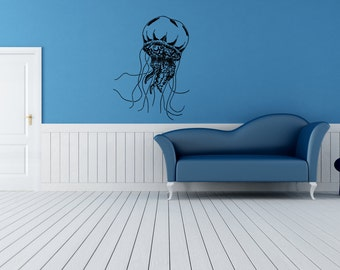 Wall Vinyl Sticker Decals Mural Room Design Pattern Jellyfish Tentacles Octopus Ocean Sea bo654