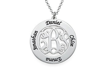 Silver Family Necklace, Personalized Mothers Necklace, Mom Jewelry, Monogram Family Necklace, Disc Necklace, mother daughter necklace