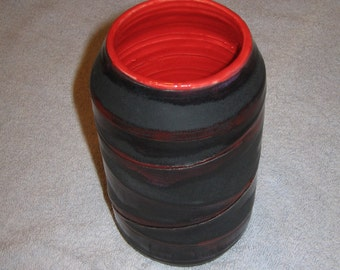 Black Cylindrical Stoneware Vase with Red Accents