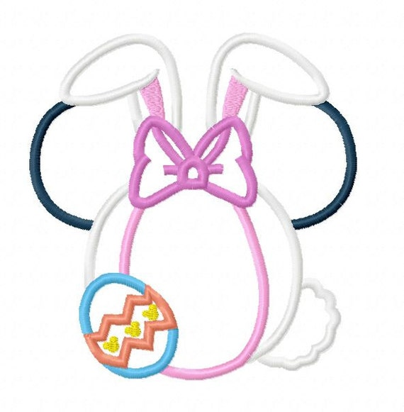 Character Applique Design : Character bow bunny with egg embroidery applique design