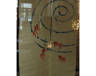 "traditional linen noren, door way curtain. goldfish in swirl on white (10KM48) 35""W x 59""L"