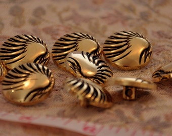 """5 blacks gold buttons with embossed texture diameter 0,8"""""""
