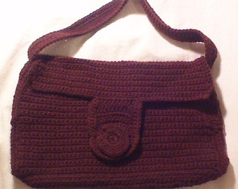 brown hand made knitted purse