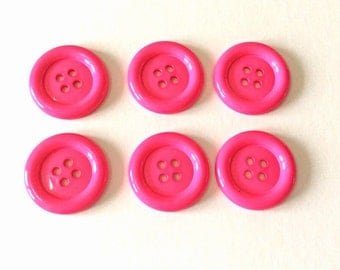 Set of 6 Cerise oversized buttons