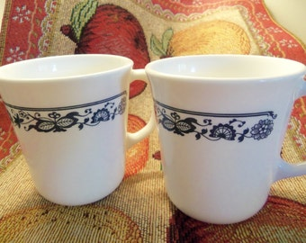 Corning Old Town Blue Onion Coffee Mugs, Set of 2. From the 1970's.
