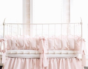 Cinderella Washed Cotton Ruffled Crib Bumpers in Baby Pink