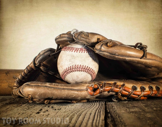 Vintage Baseball Wall Decor : Items similar to vintage style photo print baseball in