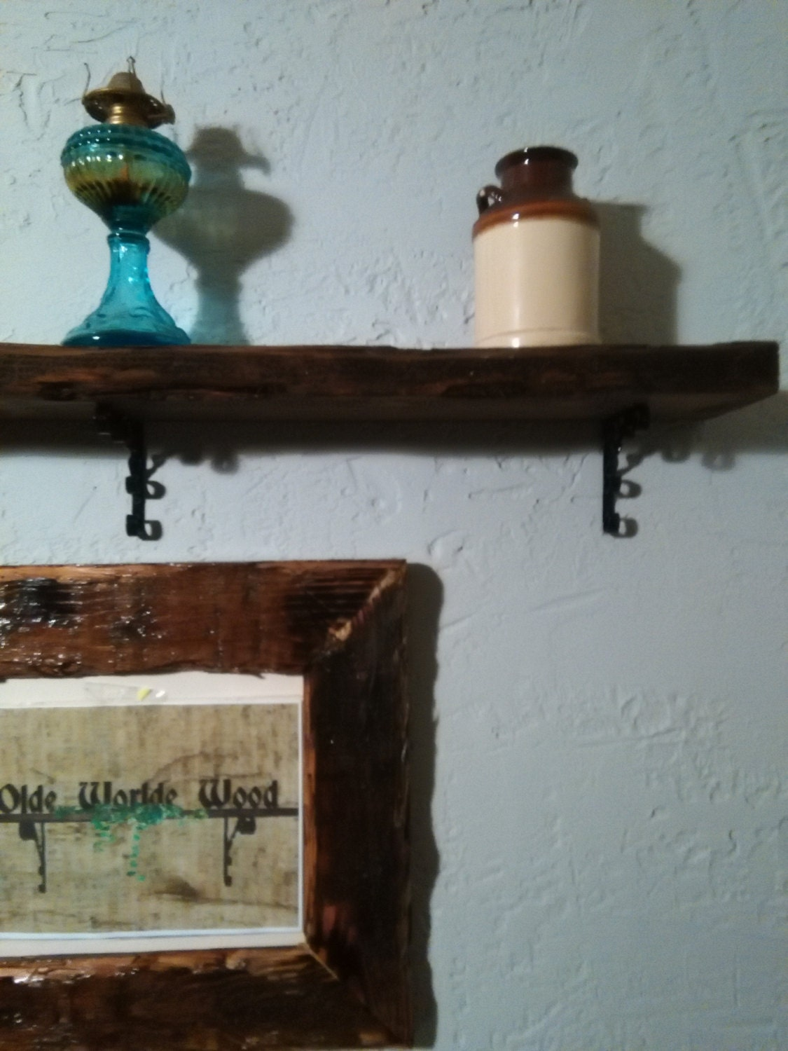 Wonderful image of Chunky rustic shelf with wrought iron brackets by OldeWorldeWood with #347376 color and 1125x1500 pixels