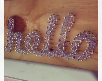 String Art Letters (wood, wool & nails) / letters, names, logos, callouts with ropes, wood and nails.