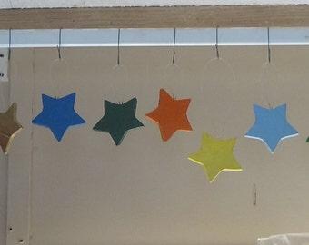 8 Wooden Hanging Stars