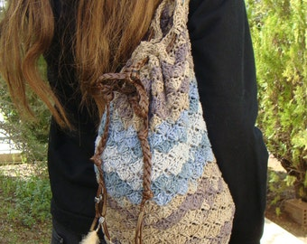 Handmade crochet backpack, cotton yarn for all seasons.
