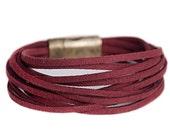 Burgundy bracelet // Ladies Bracelet // Vinous suede // Multi strands bracelet // Boho Chic bracelet // Suede bracelet // Leather Bracelet