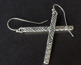 Sterling Silver Patterned Bar Earrings Everyday Jewelry Bar Earrings Minimalist Womens Jewelry